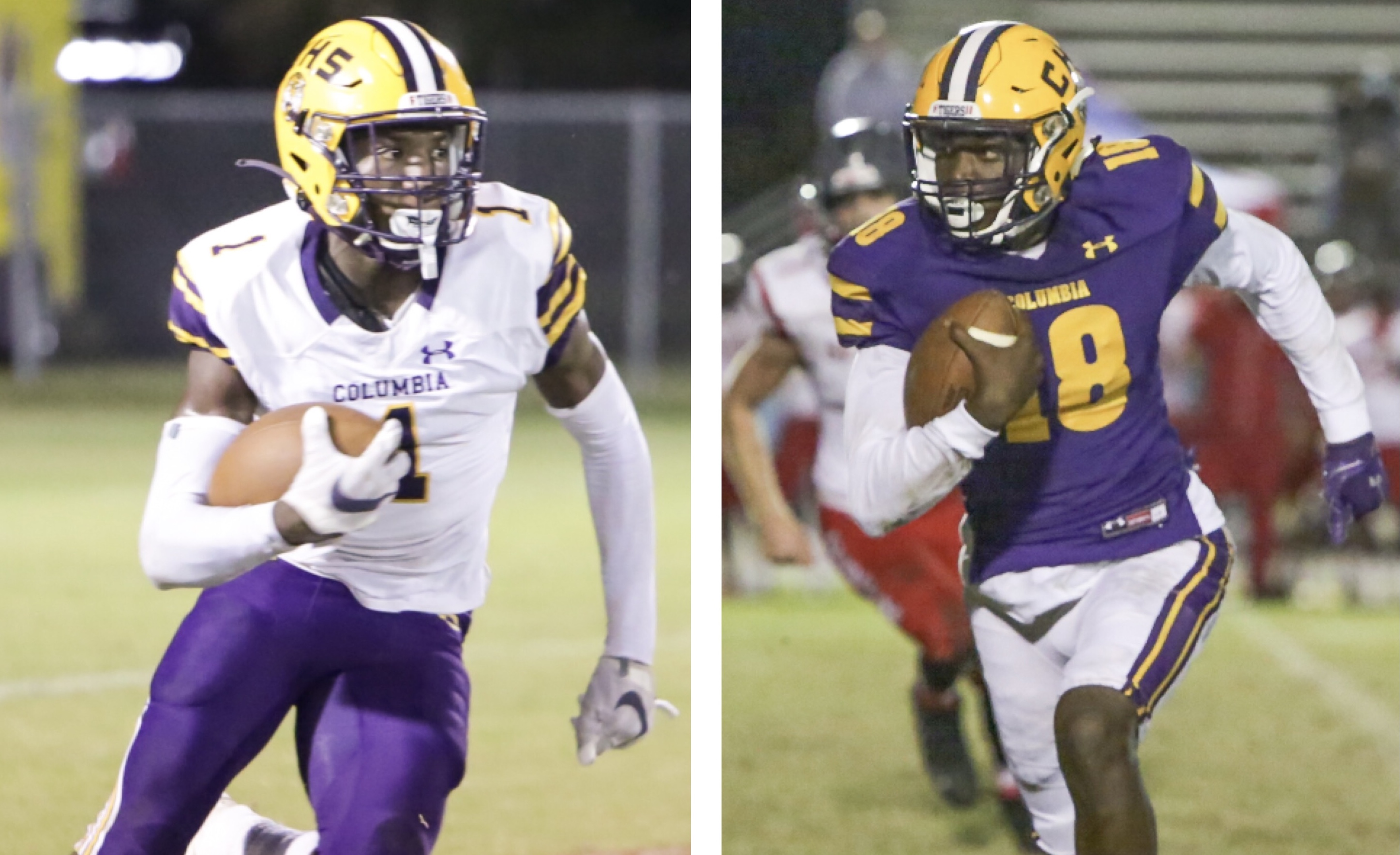 LEFT: Columbia's Shyheim Brown returns a kickoff against Wakulla on Oct. 23. RIGHT: Columbia's Marcus Peterson takes a carry up the field against Seabreeze during the Region 1-6A quarterfinals on Nov. 20. (BRENT KUYKENDALL/Lake City Reporter)