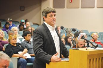 Jeff Siegmeister addresses county commissioners in August 2017 during a discussion on the legality of internet cafes. (FILE)