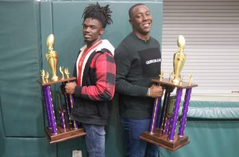 Columbia receiver Marquez Bell and linebacker Le'vontae Camiel received the team's MVP awards for offense and defense at the team's banquet on Thursday. Bell also received one of the Record Breaker awards and best WR award, while Camiel also received one of the Captains awards on defense. (JORDAN KROEGER/Lake City Reporter)