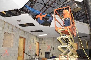 Laborers continue work on the roughly $500K CHS remodeling project, which will also include installation of new bathrooms as well as learning labs. (CARL MCKINNEY/Lake City Reporter)