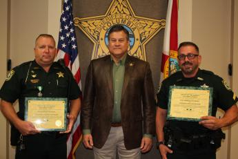 From left are Lieutenant Chris Sharpe, Sheriff Mark Hunter and Corporal Matthew Baucom. (COURTESY)