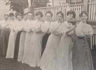 The Current Topics Club in 1906. Members included, from left, Mrs. J.L. Wells, Dadie Young (later Mrs. J.C. Sheffield), Janie Brown (first president, later Mrs. Burr L. Bixler), Mrs. F.A. Crowder, Mrs. J.C. Sheffield (1st), Mrs. W.H. Anthony, Ethel Warren (later Mrs. Herbert L. King), Mrs. James Wesley Stephens, May Vinzant (later G.J. Perkins) and Alice Appleyard (later Mrs. J.O. Clarkson). (COURTESY)