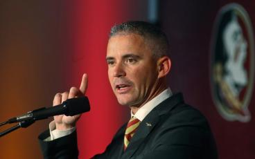 Florida State head football coach Mike Norvell speaks during his introductory news conference in Tallahassee. (MATT BAKER/Tampa Bay Times/TNS)