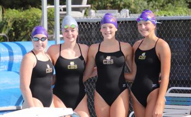 Mackenzie Conklin, Kaydence Clark, Abigail Schuler and Isabelle Glenn will swim on Columbia's 200 medley relay team and 200 freestyle relay team at regionals. (SHELBY CONKLIN/Special to the Reporter)