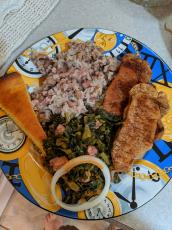 The traditional New Year's Day meal in the American South includes pork (good fortune and wisdom), greens (money), cornbread (gold) and black-eyed peas (health and coins). (COURTESY)