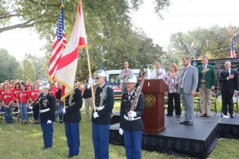 Columbia High School JROTC color guard cadets present the colors for the 2018 Memorial Day Service at the Lake City VA  Medical Center. Columbia High School JROTC cadets will present the colors at the Daytona International Speedway on Feb. 12 leading up to the Next Era Energy 250 truck race. (FILE)