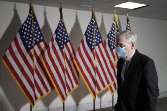 Senate Majority Leader Mitch McConnell (R-Kentucky) departs after the Republican policy luncheon on Nov. 18 on Capitol Hill in Washington, D.C. (YURI GRIPAS/Abaca Press/TNS)