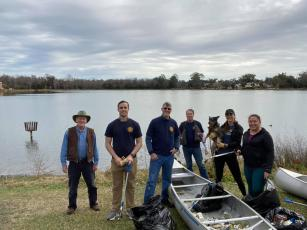 Six Rotarians from the Rotary Club of Lake City Downtown helped gather more than 200 pounds of trash from Lake DeSoto on Saturday morning with help from several local volunteers. (COURTESY)