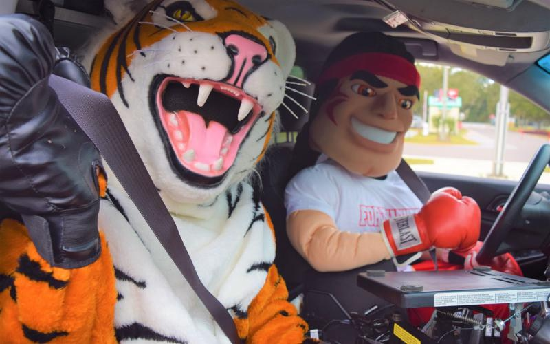 "Mascots for Columbia High and Fort White High prepare for the ""Battle of the Belts,"" a friendly competition organized by FDOT. For its size, Columbia is the worst county in the state for seat-belt use, the agency says. (COURTESY)"