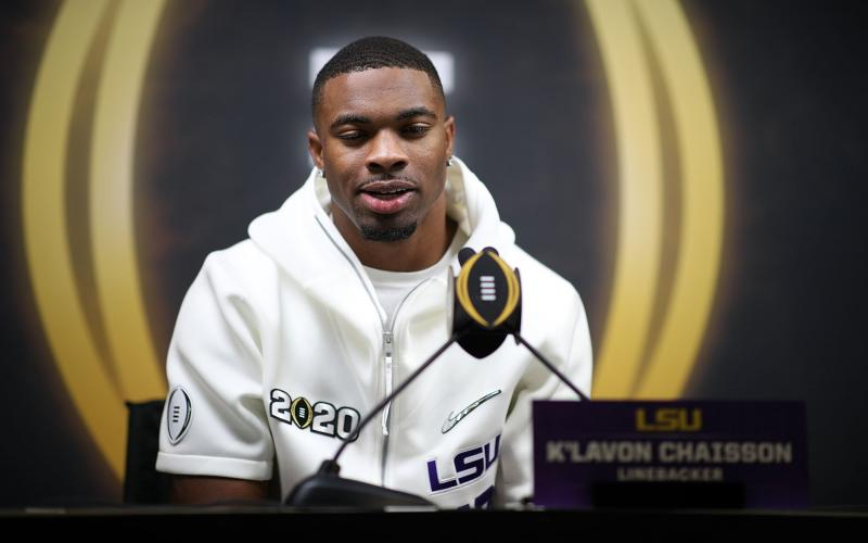 LSU defensive end K'Lavon Chaisson attends media day ahead of the College Football Playoff National Championship on Jan. 11, in New Orleans. Chaisson was selected by the Jacksonville Jaguars in the first round of the NFL draft. (CHRIS GRAYTHEN/Getty Images/TNS)