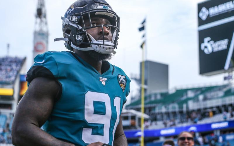 Jacksonville Jaguars defensive end Yannick Ngakoue (91) walks off the field after an NFL football game against the New York Jets at TIAA Bank Field, Sunday, Oct. 27, 2019 in Jacksonville. (TRIBUNE NEWS SERVICE)