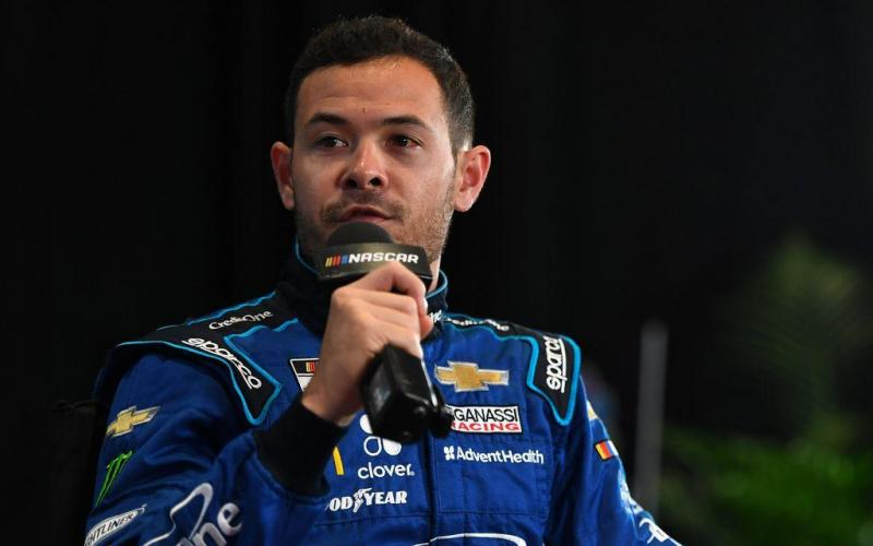 NASCAR Cup Series driver Kyle Larson (42) addresses the media during NASCAR Media Day at the Daytona 500 Club. (TRIBUNE NEWS SERVICE)