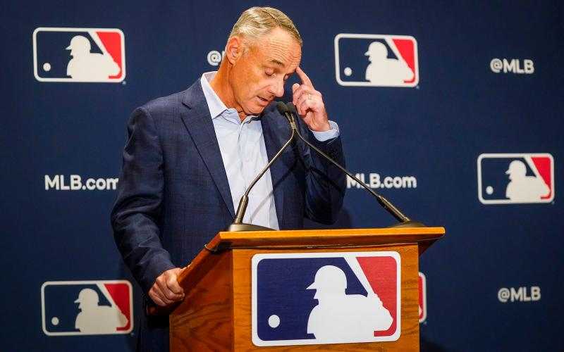 Major League Baseball commissioner Rob Manfred addresses reporters during MLB Media Day activities on Feb. 18, in Scottsdale, Ariz. (SMILEY M. POOL/TNS)