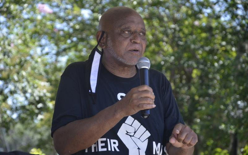 Glenel Bowden, a civil-rights activist, former Lake City Council member and former congressional staffer, greets the crowd at a unity rally against racism. The rally came as part of the aftermath of the death of George Floyd. (CARL MCKINNEY/Lake City Reporter)