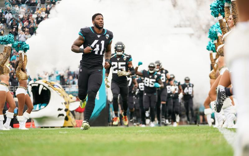 Jacksonville Jaguars defensive end Josh Allen (41) enters the field with his team before a game against the Los Angeles Chargers at TIAA Bank Field on Dec. 8, 2019, in Jacksonville. (JAMES GILBERT/Getty Images/TNS)