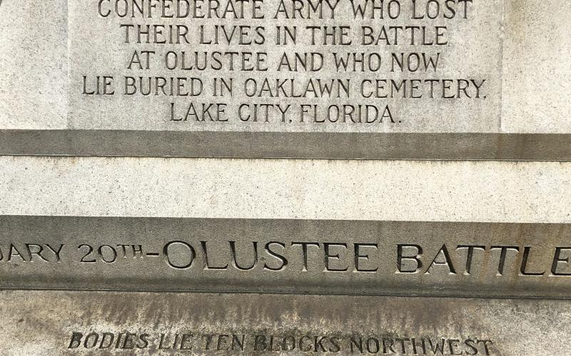 The Confederate monument honors soldiers who died in the Battle of Olustee in Baker County. Those soldiers are buried at Oak Lawn Cemetery. (FILE)
