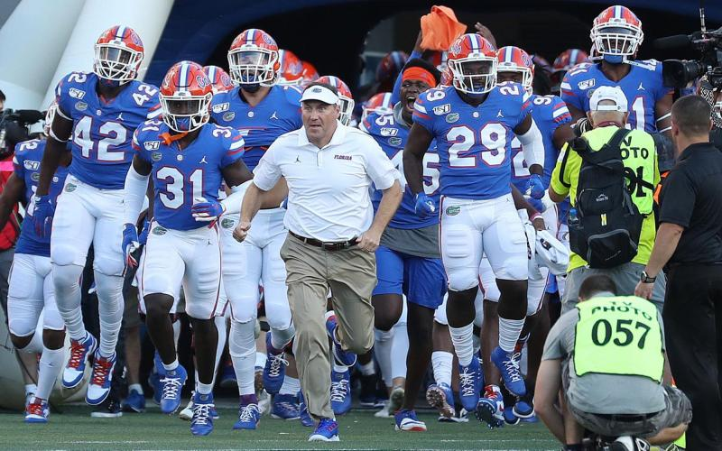 The University of Florida athletic department reported Wednesday six new positive cases of covid-19 with the Gators football team a week before its season opener. (STEPHEN M. DOWELL/Orlando Sentinel/TNS)
