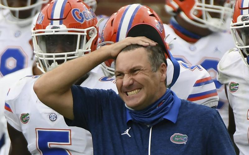 Florida head coach Dan Mullen reacts during the second half a game against Mississippi on Seot. 26 in Oxford, Miss.Mullen was given several more chances Monday to walk back bizarre comments about wanting to pack 90,000 screaming fans inside Florida Field during the coronavirus pandemic. He declined each of them, brushing aside criticism and insisting he's focused on defending national champion LSU. (THOMAS GRANING/Associated Press)