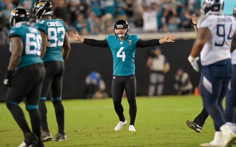Jaguars kicker Josh Lambo could play Sunday against the Los Angeles Chargers. (TRIBUNE NEWS SERVICE)