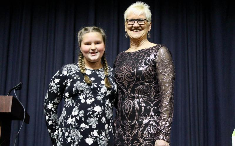 Suwannee Springcrest Elementary School's Becky Skipper (right) was named the Suwannee County School District's Teacher of the Year on Tuesday. Skipper was introduced by former student Makenzie Williams. (COURTESY SUWANNEE COUNTY SCHOOL DISTRICT)