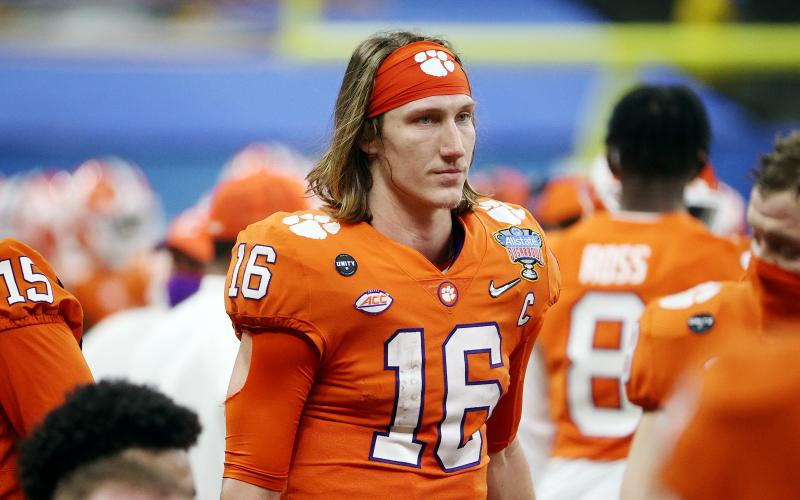 Clemson quarterback Trevor Lawrence (16) looks on in the second half against Ohio State during the College Football Playoff semifinal game at the Allstate Sugar Bowl at Mercedes-Benz Superdome on Jan. 1 in New Orleans. (CHRIS GRAYTHEN/Getty Images/TNS)