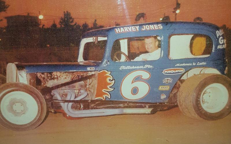 The late Harvey Jones pictured in his dirt track car. His widow, Hazel, said she was touched that there will be a race to honor his memory. (COURTESY)